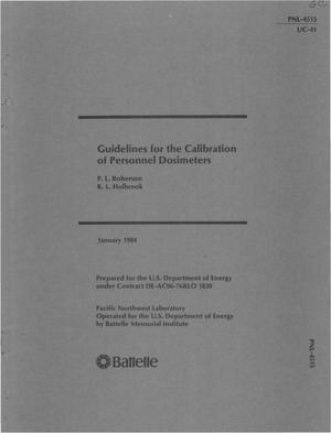 Primary view of object titled 'Guidelines for the calibration of personnel dosimeters'.