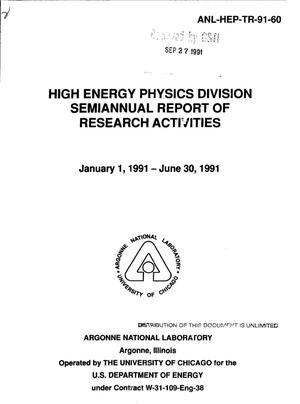 Primary view of object titled 'High energy physics division semiannual report of research activities'.