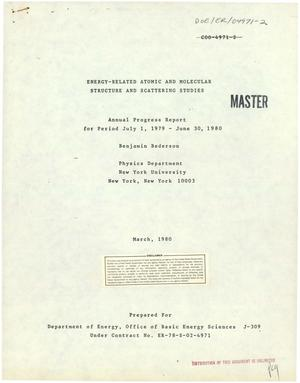 Primary view of object titled 'Energy-related atomic and molecular structure and scattering studies. Annual progress report, July 1, 1979-June 30, 1980'.