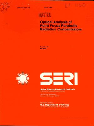 Primary view of object titled 'Optical analysis of point focus parabolic radiation concentrators'.