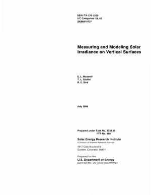 Primary view of object titled 'Measuring and modeling solar irradiance on vertical surfaces'.