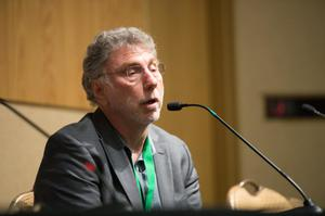 "Primary view of object titled '[Marty Baron speaking during ""'Spotlight' On Winning Pulitzers"" plenary]'."