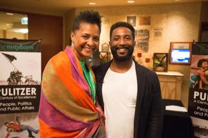 Primary view of object titled '[Dorothy Bland and Wesley Morris standing together]'.