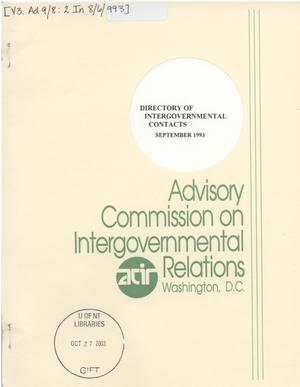 Primary view of object titled 'Directory of intergovernmental contacts, 1993'.
