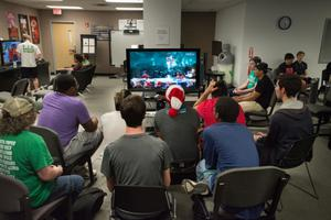 Primary view of object titled '[Students playing Super Smash Bros]'.