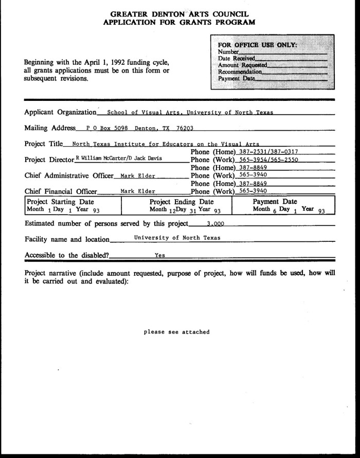 primary view of object titled greater denton application form filled by ntieva 1993