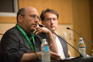 Primary view of object titled '[Kurt Eichenwald speaking on Business Journalism panel]'.