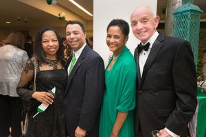 Primary view of object titled '[Cornelius Foote Jr., Dorothy Bland and Roy Busby at Wingspan Gala]'.
