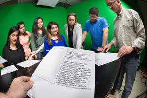 Primary view of object titled '[North Texas TV Spanish broadcast students]'.