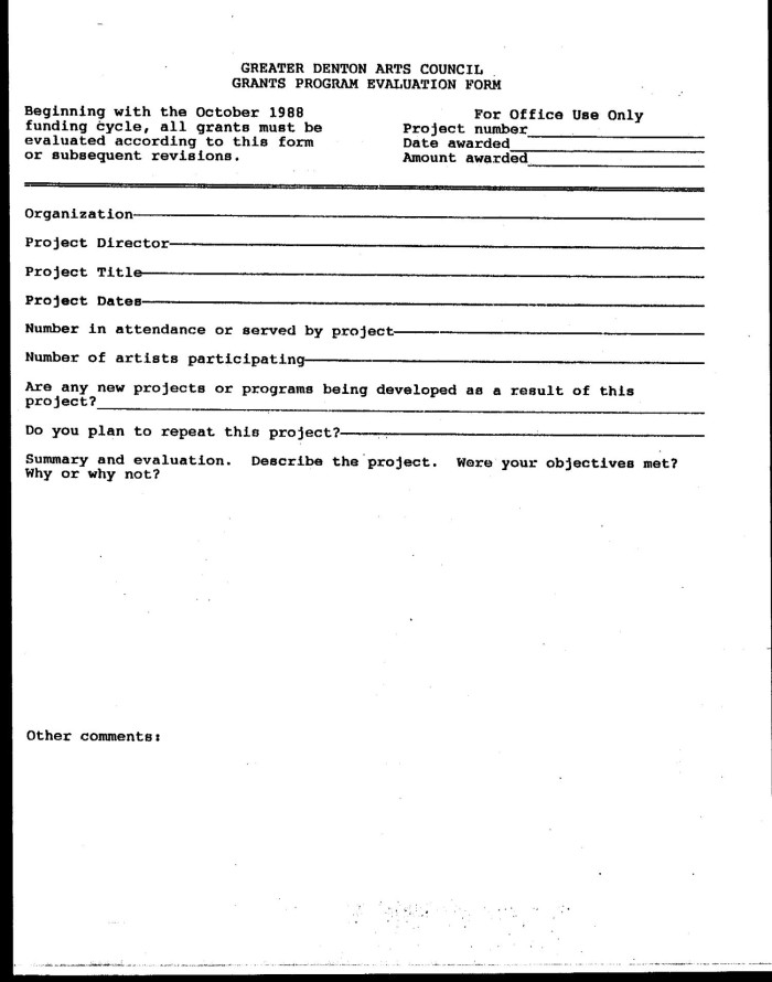 Greater Denton Arts Council Grants Program Evaluation Form Blank