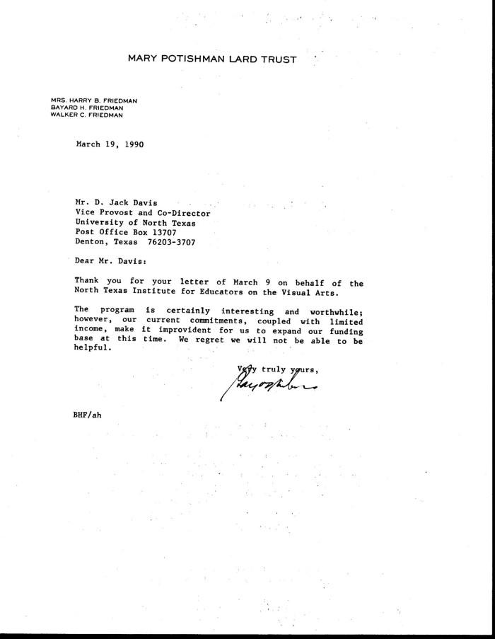 Letter from Bayard H  Friedman to Jack Davis, March 19, 1990