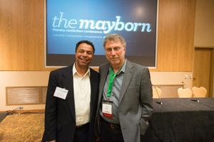 "Primary view of object titled '[Neil Foote Jr. and Marty Baron standing together after ""Getting the Call"" panel]'."