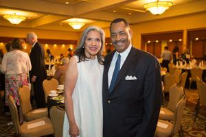 Primary view of object titled '[Nora McCaa and John McCaa at Literary Lights Dinner]'.
