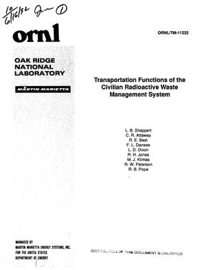 Primary view of object titled 'Transportation functions of the Civilian Radioactive Waste Management System'.
