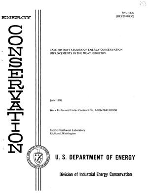 Primary view of object titled 'Case history studies of energy conservation improvements in the meat industry'.