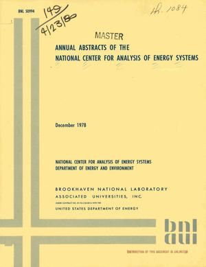 Primary view of object titled 'Annual abstracts of the National Center for Analysis of Energy Systems'.