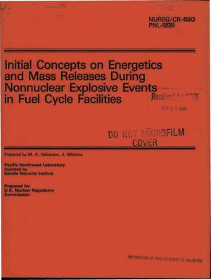 Primary view of object titled 'Initial concepts on energetics and mass releases during nonnuclear explosive events in fuel cycle facilities'.