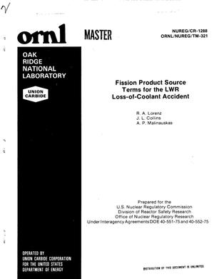 Primary view of object titled 'Fission product source terms for the LWR loss-of-coolant accident'.