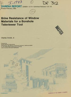 Primary view of object titled 'Brine resistance of window materials for a Borehole Televiewer tool'.