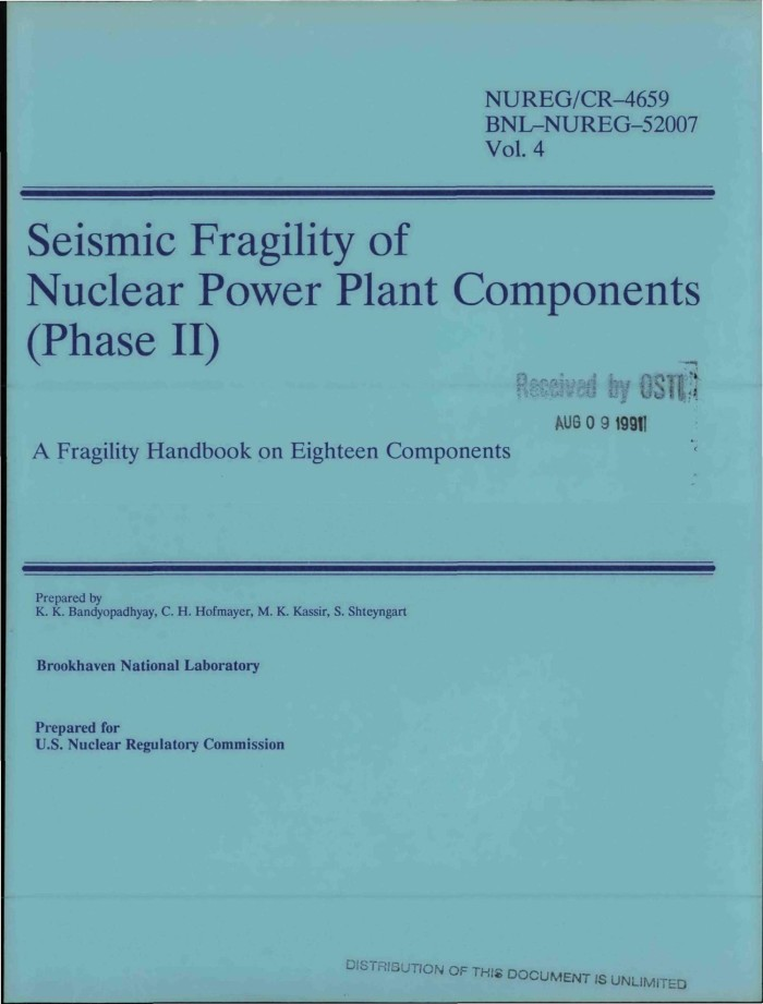 primary view of object titled 'seismic fragility of nuclear power plant  components (phase 2