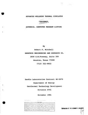 Primary view of object titled 'Advanced wellbore thermal simulator GEOTEMP2. Appendix. Computer program listing'.