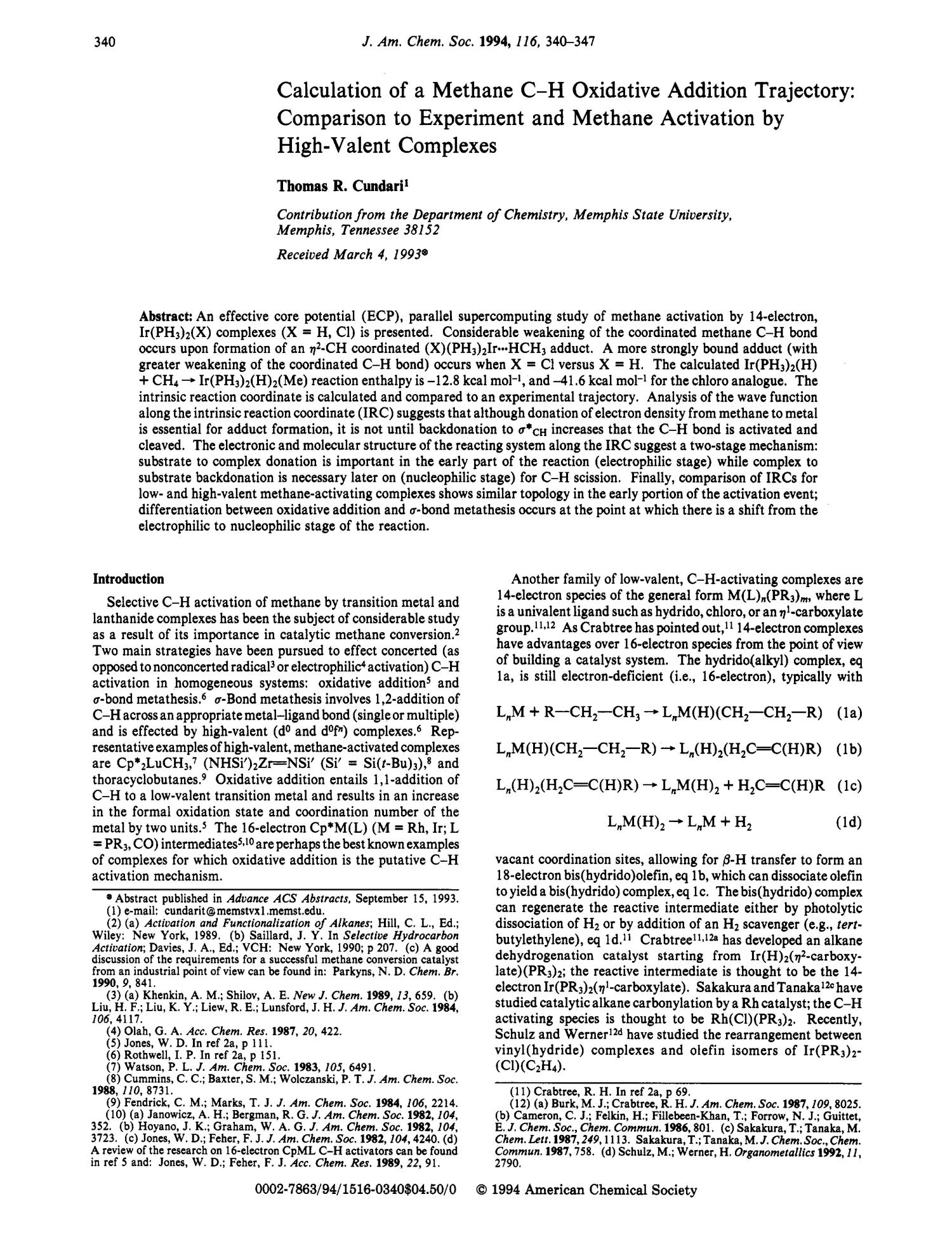 Calculation of a Methane C-H Oxidative Addition Trajectory: Comparison to Experiment and Methane Activation by High-Valent Complexes                                                                                                      340
