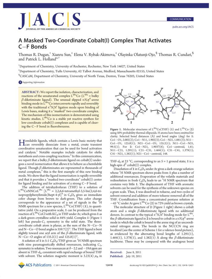 A Masked Two-Coordinate Cobalt (I) Complex That Activates C-F ...