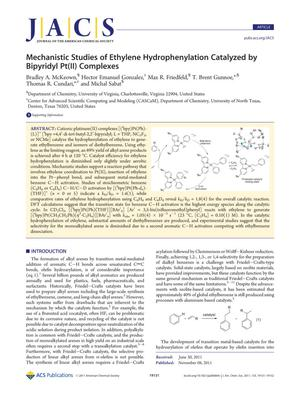 Primary view of object titled 'Mechanistic Studies of Ethylene Hydrophenylation Catalyzed by Bipyridyl Pt(II) Complexes'.