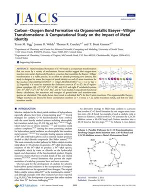 Primary view of object titled 'Carbon-Oxygen Bond Formation via Organometallic Baeyer-Villiger Transformations: A Computational Study on the Impact of Metal Identity'.