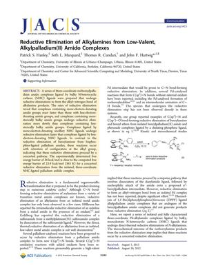 Primary view of object titled 'Reductive Elimination of Alkylamines from Low-Valent, Alkylpalladium(II) Amido Complexes'.