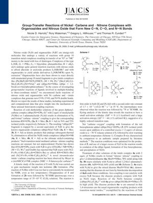 Primary view of object titled 'Group-Transfer Reactions of Nickel-Carbene and -Nitrene Complexes with Organoazides and Nitrous Oxide that Form New C=N, C=O, and N=N Bonds'.