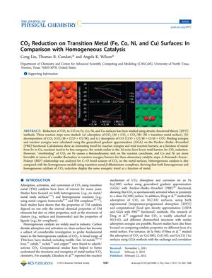 Primary view of object titled 'CO₂ Reduction on Transition Metal (Fe, Co, Ni, and Cu) Surfaces: In Comparison with Homogeneous Catalysis'.