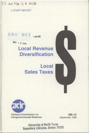 Primary view of object titled 'Local revenue diversification : local sales taxes'.