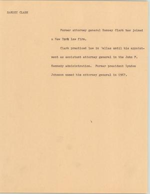 Primary view of object titled '[News Script: Ramsey Clark]'.