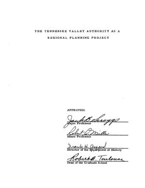 Primary view of object titled 'The Tennessee Valley Authority as a Regional Planning Project'.