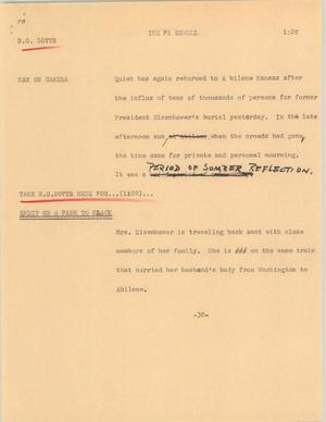 Primary view of object titled '[News Script: Ike farewell]'.
