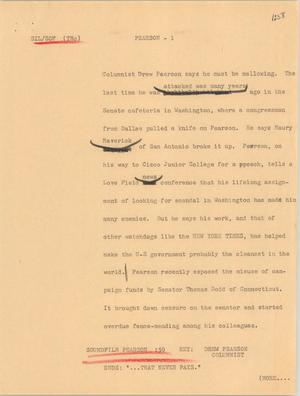 Primary view of object titled '[News Script: Pearson]'.
