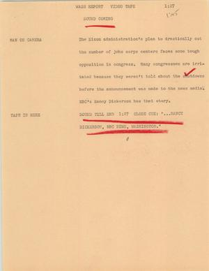 Primary view of object titled '[News Script: Wash report]'.