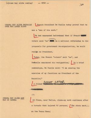 Primary view of object titled '[News Script: De Gaulle]'.
