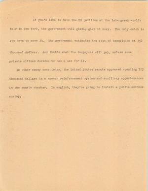 Primary view of object titled '[News Script: Government affiars]'.