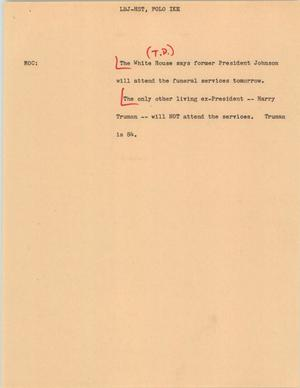 Primary view of object titled '[News Script: LBJ-HST, Folo Ike]'.