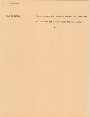 Primary view of object titled '[News Script: Arlington]'.