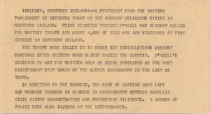 Primary view of object titled '[News Script: Irish unrest]'.