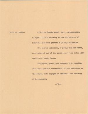 Primary view of [News Script: University of Houston]