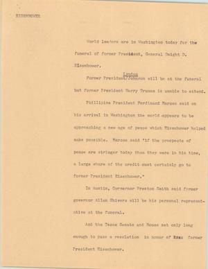 Primary view of object titled '[News Script: Eisenhower Funeral'.