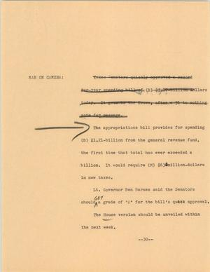 Primary view of object titled '[News Script: Appropriation bill]'.