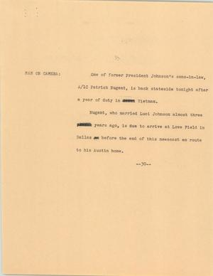 Primary view of object titled '[News Script: Patrick Nugent]'.