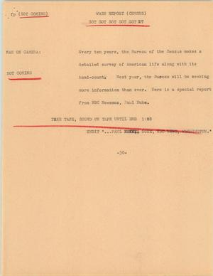 Primary view of object titled '[News Script: Washington report (Census)]'.