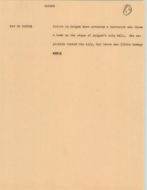Primary view of object titled '[News Script: Saigon]'.