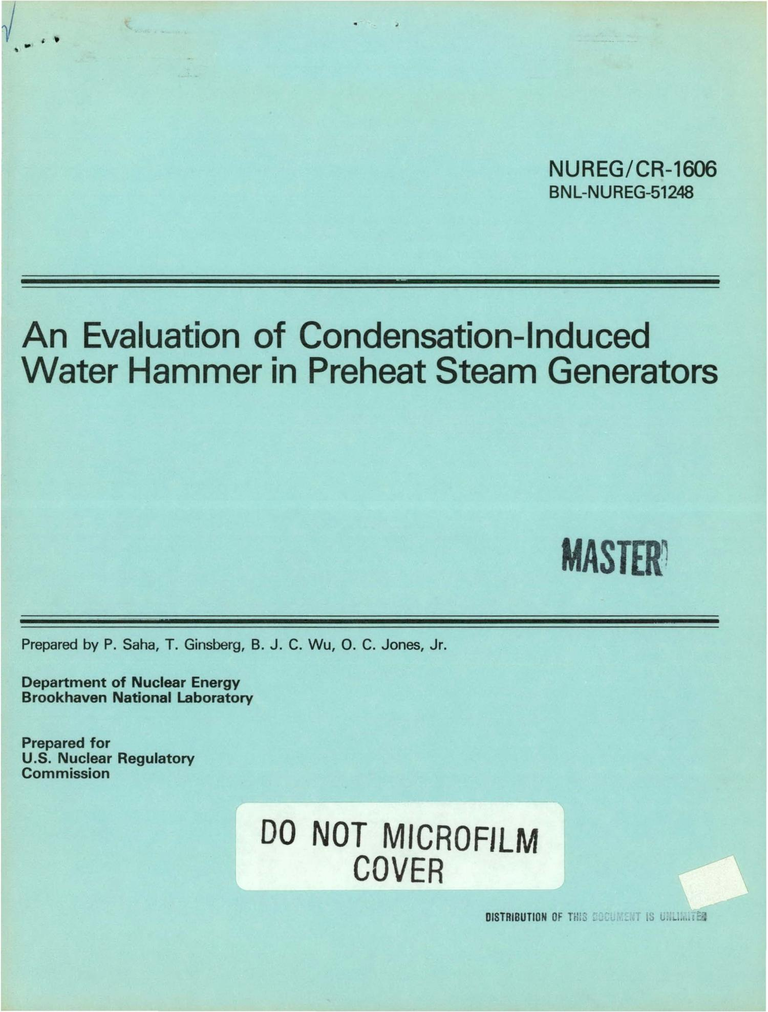 Evaluation of condensation-induced water hammer in preheat